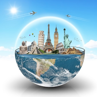 Monumenti del mondo in un bicchiere d'acqua