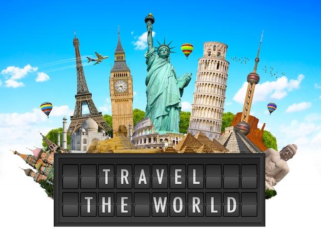 Monumenti del mondo su un pannello del tabellone per le affissioni dell'aeroporto