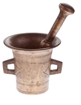 Mortaio e pestello antichi in bronzo