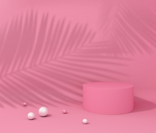 Mostra cubo per presentazione del prodotto, ombra dell'albero tropicale