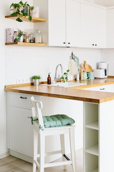 Mostra sulla cucina bianca in stile scandinavo