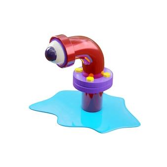 Mostro di cartone animato in un tubo di fogna in rosso lucido, sembra con un occhio, come in un telescopio di un sottomarino. una pozza d'acqua blu si diffuse attorno al tubo. rendering 3d isolare su un muro bianco.