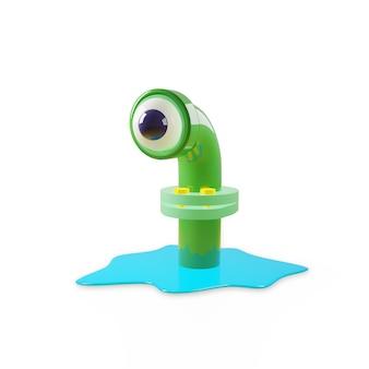Mostro di cartone animato in un tubo di fogna in verde lucido, guarda con un occhio, come in un telescopio di un sottomarino. una pozza d'acqua blu si diffuse attorno al tubo. rendering 3d isolare su un muro bianco.