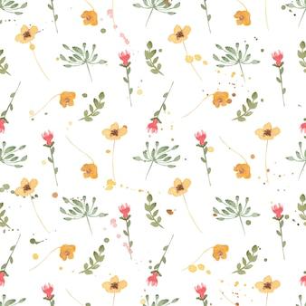 Motivo floreale di fiori selvatici dell'acquerello, carta da parati delicata con fiori di campo