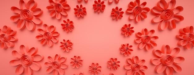 Motivo floreale realizzato con carte ritagliate. forme di origami, piegate a mano.