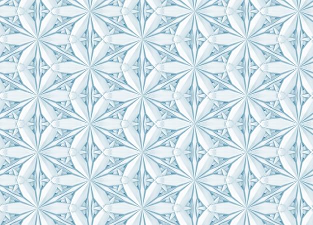 Motivo geometrico a luce tridimensionale con fiori a sei punte