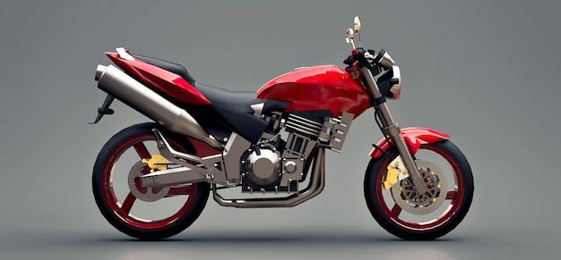 Motociclo a due posti di sport urbano rosso su sfondo grigio. illustrazione 3d