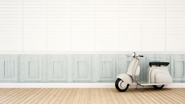 Motociclo d'annata nell'area vivente - rappresentazione 3d