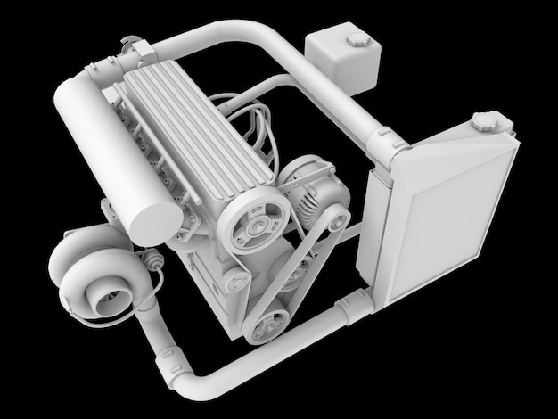 Motore di automobile moderno del turbo isolato su superficie nera