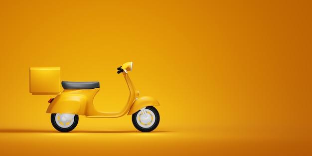 Motorino d'annata giallo, illustrazione 3d