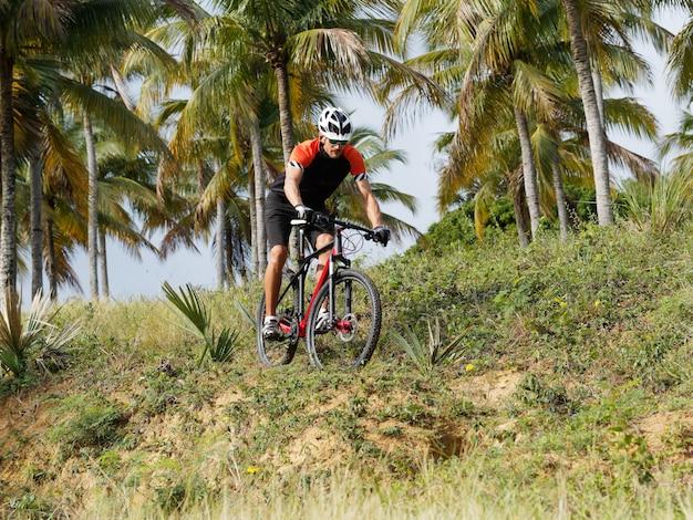 Mountain bike attraverso una foresta tropicale.