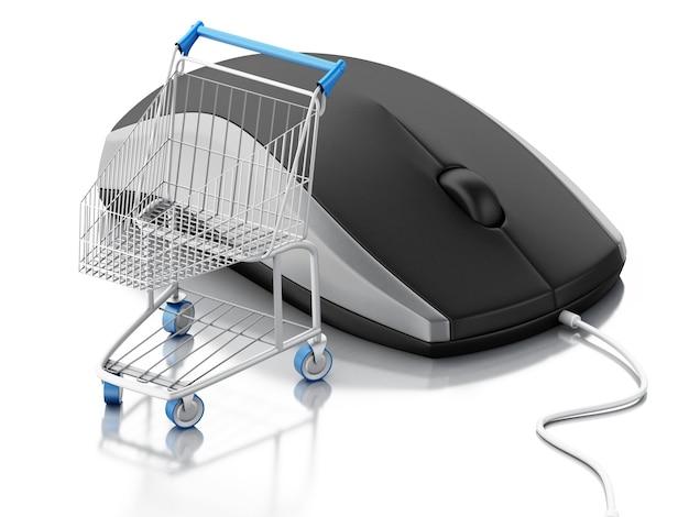 Mouse del calcolatore 3d e carrello. e-commerce