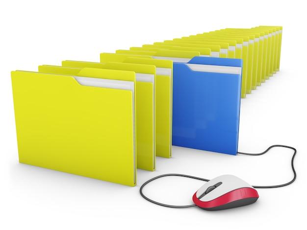 Mouse del computer collegato a una delle cartelle