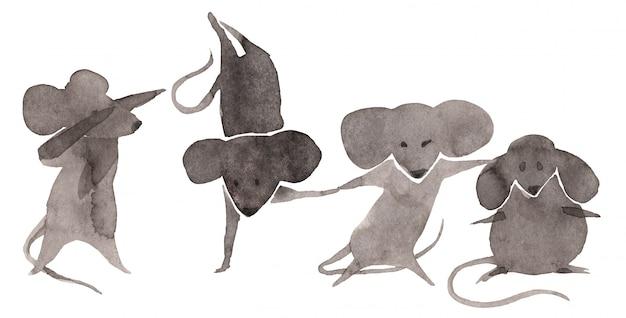 Mouses svegli messi su fondo bianco