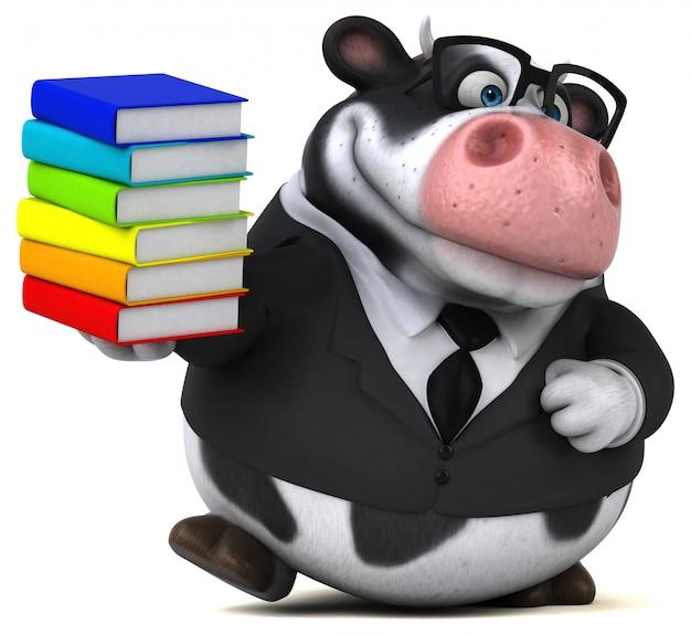 Mucca divertente con libri