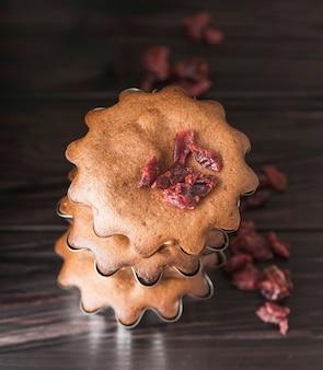 Mucchio delizioso primo piano dei muffin