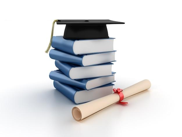 Mucchio di libri 3d con mortarboad e diploma