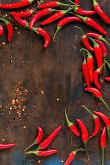 Mucchio di peperoncino rosso caldo