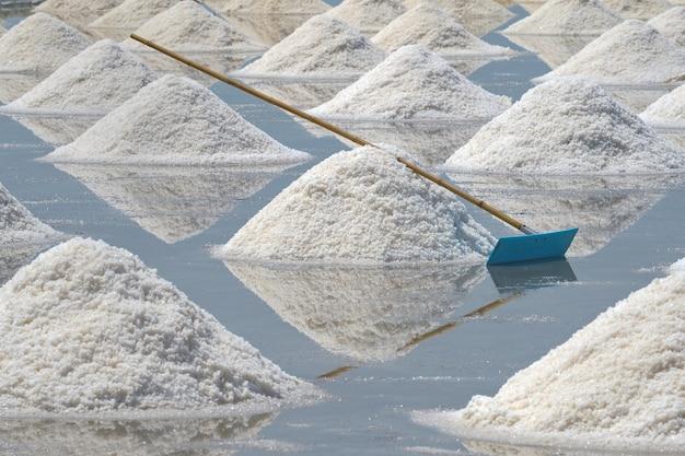 Mucchio di sale bianco sul terreno nel campo di sale