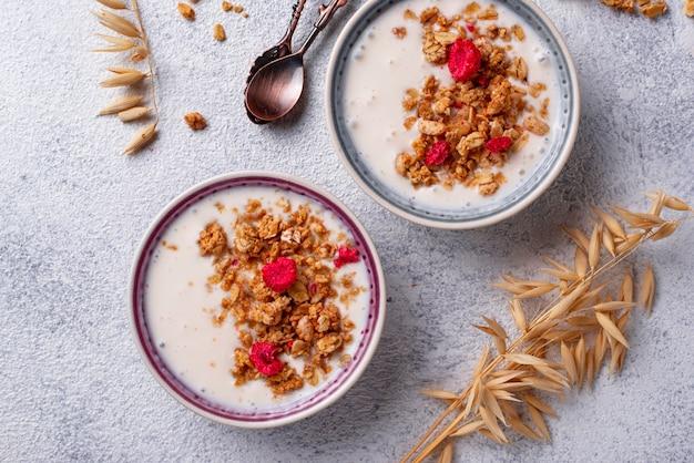Muesli con yogurt e lamponi secchi