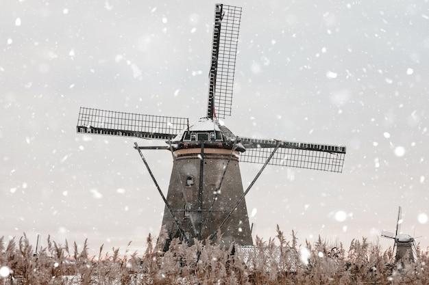 Mulini a vento a kinderdijk, paesi bassi in inverno