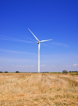 Mulino a vento in un campo contro un cielo blu