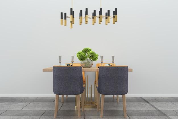 Muro bianco sala da pranzo interni in legno sedia lampada pavimento in pietra tavolo in legno vaso pianta albero