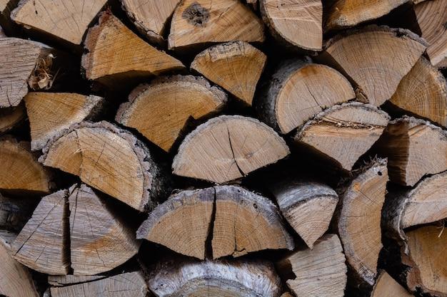 Muro di legna da ardere secca accatastata sotto una tettoia