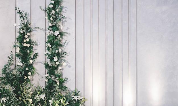 Muro di legno bianco con piani e fiori sullo sfondo