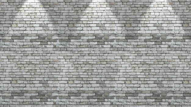 Muro di mattoni 3d con tre faretti splende verso il basso