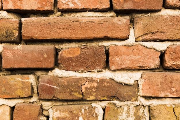 Muro di mattoni con cemento