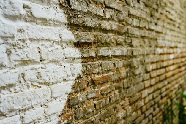 Muro di mattoni con grande freccia bianca che indica la direzione