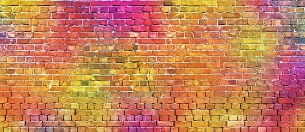 Muro di mattoni dipinto, sfondo astratto di diversi colori