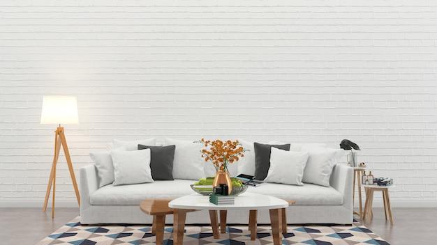 Muro di mattoni pavimento in cemento interno divano sedia lampada interno 3d soggiorno