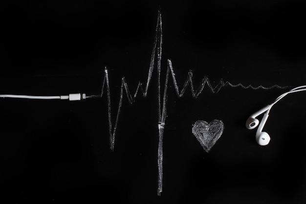Musica, impulso, cuore. sfondo nero, minimalismo.