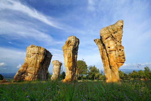Nark nazionale di stonehenge della roccia bianca, parco nazionale di phu hin lan in tailandia.