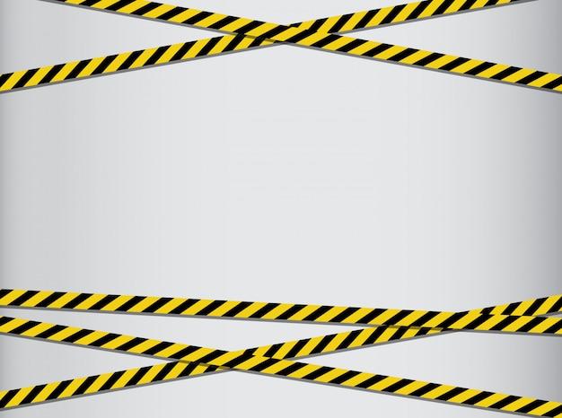 Nastri di attenzione e pericolo. nastro di avvertimento linea nera e gialla a righe.