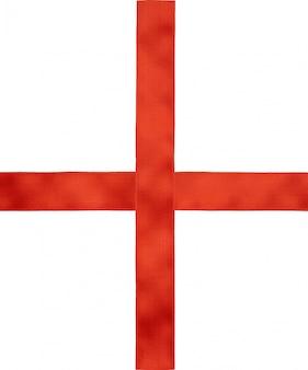 Nastro di raso rosso croce da attraversare su bianco