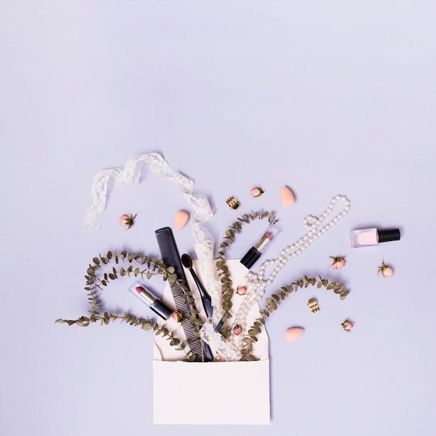 Nastro; rossetto; pettine; collana con rametto e fiori che escono dalla busta