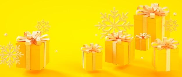 Natale, capodanno, scatole attuali dorate gialle di compleanno e illustrazione della rappresentazione dei fiocchi di neve 3d