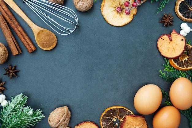 Natale cibo e cottura mock up. vari utensili da cucina.