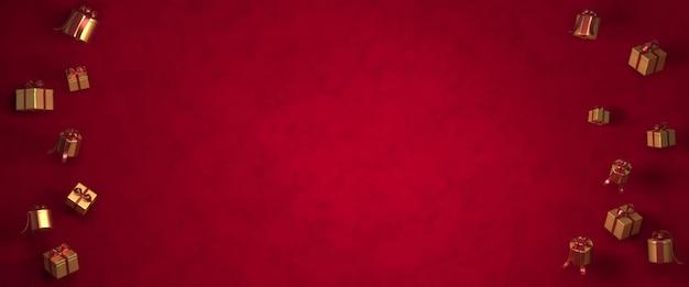 Natale della rappresentazione 3d, contenitore di regalo, alberi di natale su fondo rosso scuro