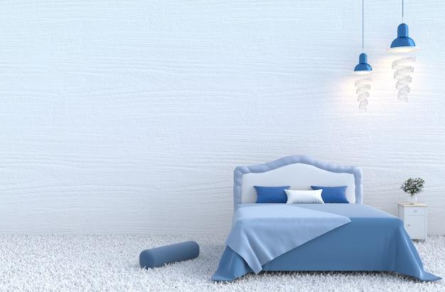 Natale e capodanno. camera da letto bianca, letto blu, coperta, parete in legno, moquette, cuscino, rosa. 3d