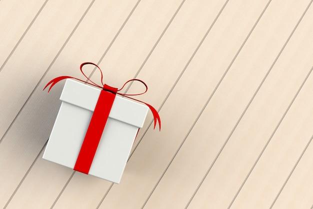 Natale e capodanno, contenitore di regalo bianco rosso isolato sul bordo di legno, rappresentazione 3d