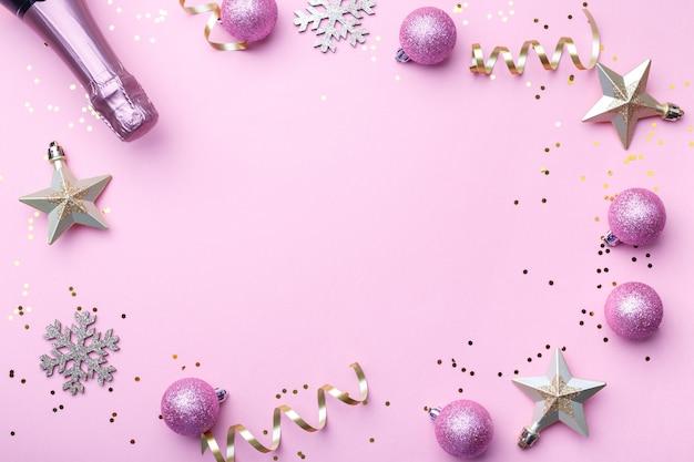 Natale piatto disteso con champagne