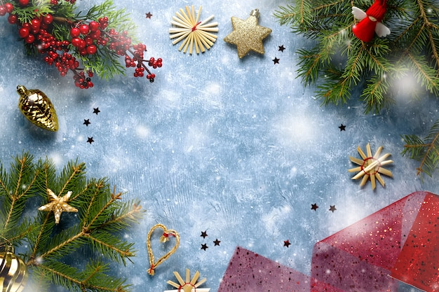 Natale piatto giaceva nei colori rosso e verde