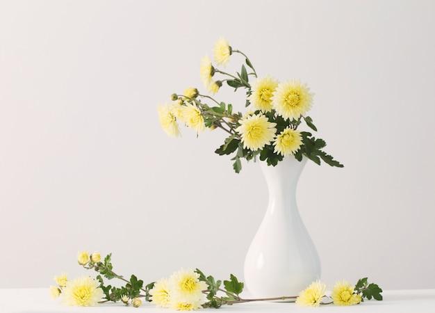 Natura morta con i crisantemi su fondo bianco