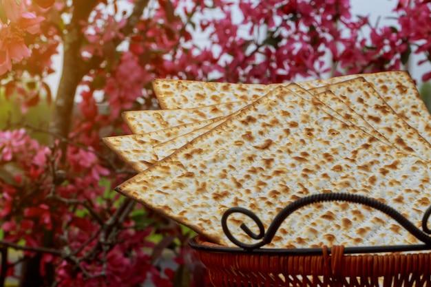 Natura morta con pane pasquale ebraico matzoh
