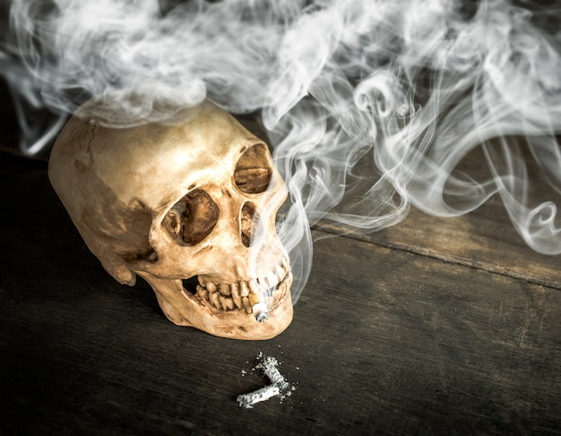 Natura morta skull of a skeleton with burning cigarette