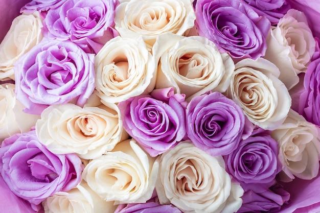 Naturale di meravigliose rose bianche e viola per carta da parati, cartolina, copertina, banner. decorazione di nozze. bellissimo bouquet di rose come regalo